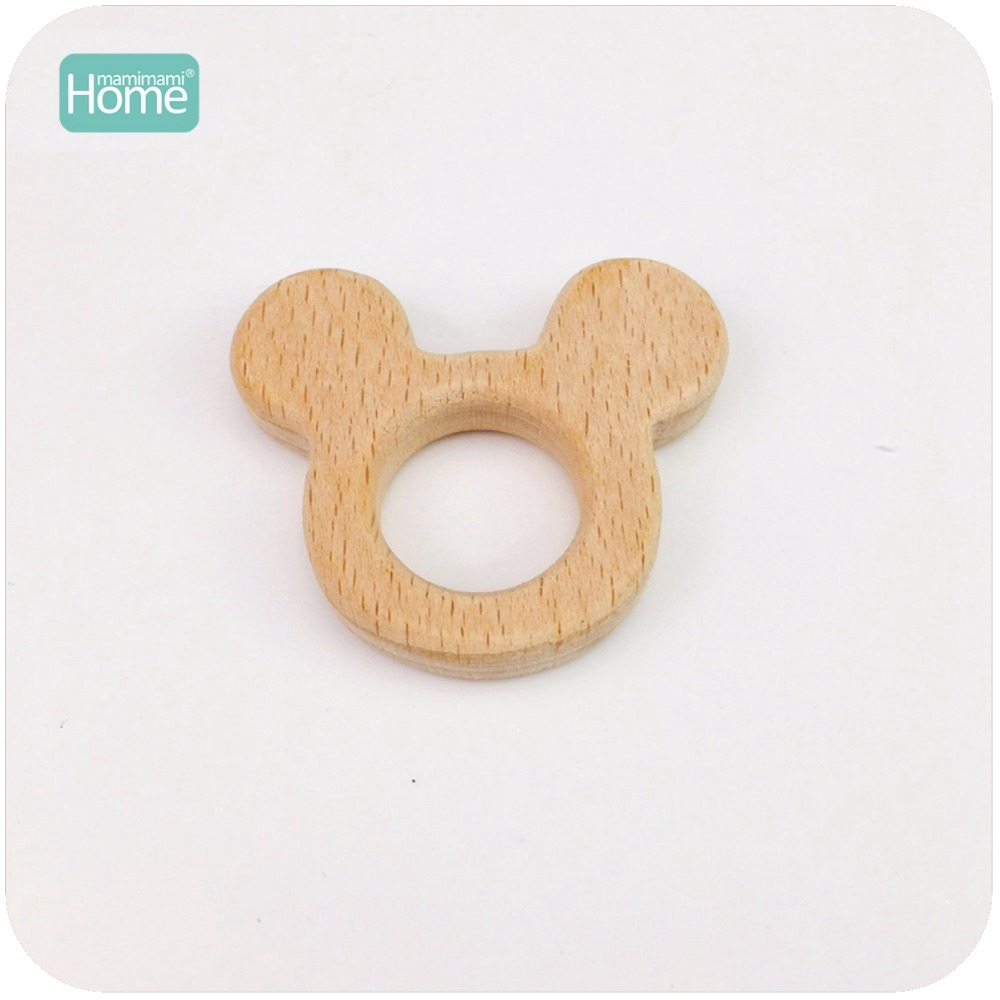 MamimamiHome Baby Beech Wood Rattles Mickey Head 10pc Teether Bracelet Toy For A Stroller Play Gym Accessories Montessori Toys