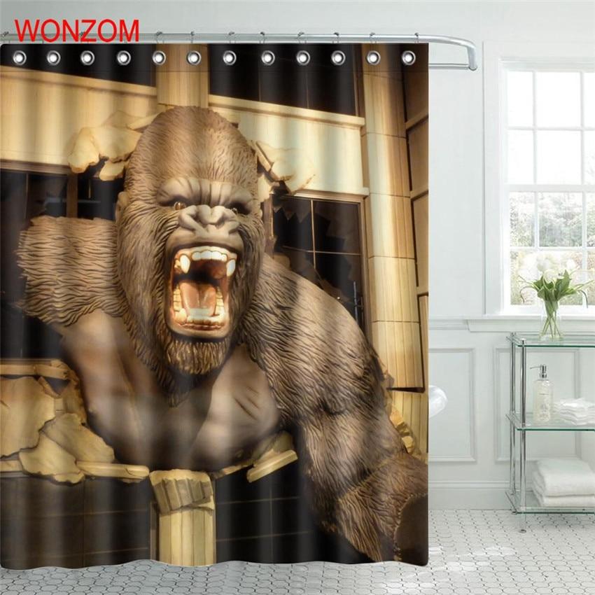 WONZOM Howling Gorilla Polyester Fabric Shower Curtain Bathroom Decor Waterproof Animal Cortina De Bano With 12 Hooks Gift 2017