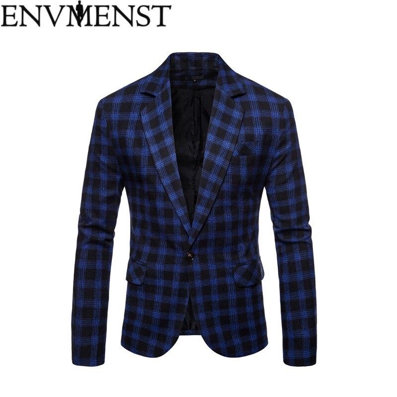 Envmenst 2018 Autumn Casual Blazer Men Fashion Suits Coat Single Button Suit High Quality Men Plaid Jacket