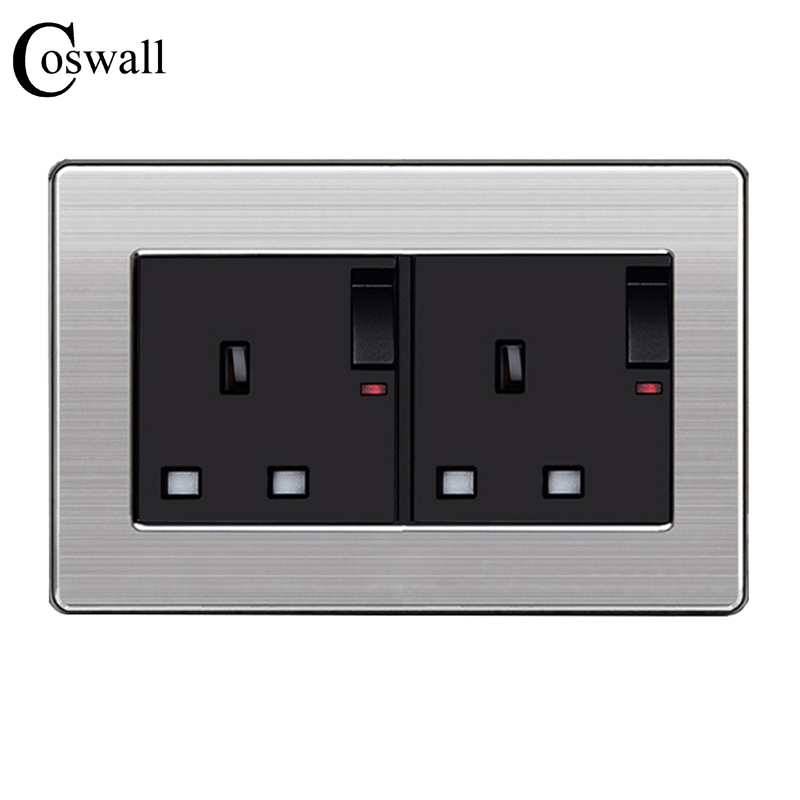 coswall-146-uk-standard-double-switched-socket-with-neon-luxury-wall-power-outlet-enchufe-stainless-steel-panel-electrical-plug