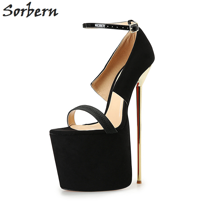 Sorbern Eu40-50 Ankle Strap Two-Piece Pumps Women Platform Black Pumps Ladies Platform Shoes 9