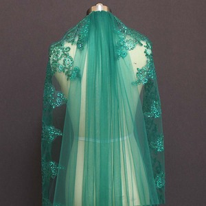 Image 4 - Real Photos Bling Sequined Lace Edge One Layer Green Wedding Veils with Comb Cathedral Bridal Veils Wedding Accessories