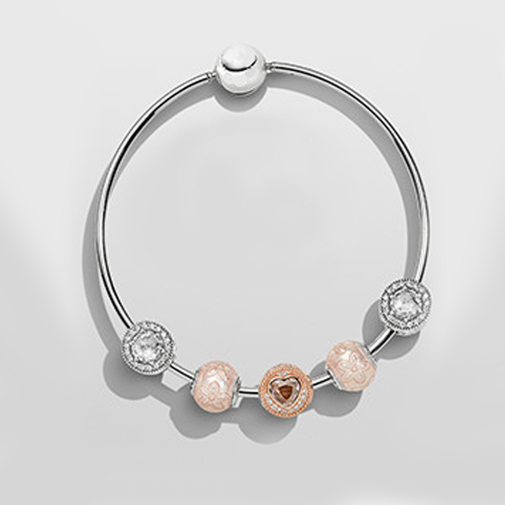 NEW925 High Quality European Style Rose Gold Crystal Silver Beads Charm Bracelets for Women Original DIY Beads JewelryNEW925 High Quality European Style Rose Gold Crystal Silver Beads Charm Bracelets for Women Original DIY Beads Jewelry