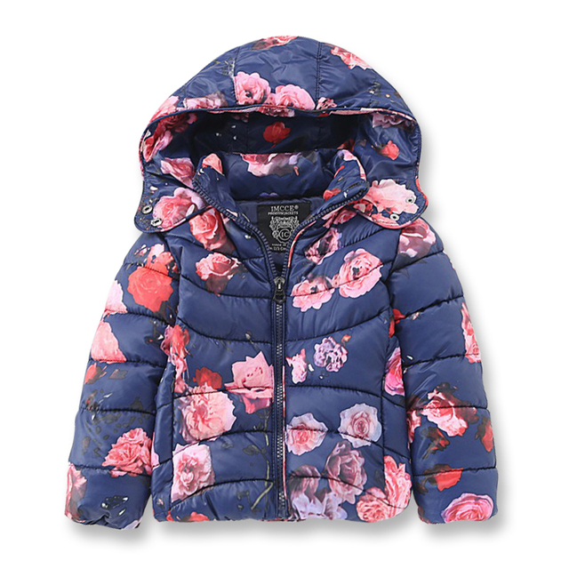 Cheap Brand Girl Winter Jackets for Girls, Fashion Printed Flowers Kids Clothes, Beautiful Soft Outerwear & Coats for Children 2-8 Yrs