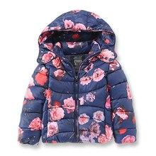 Бренд Девушка Зимние Куртки для Девочек, мода Печатных Цветы Детская Одежда, теплая Верхняя Одежда и Пальто для девочек детей 2-8 Лет