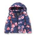 Marca Menina Casacos de Inverno para As Meninas, moda Impresso Flores Roupa Dos Miúdos, quente Casacos & Coats para meninas crianças 2-8 Anos