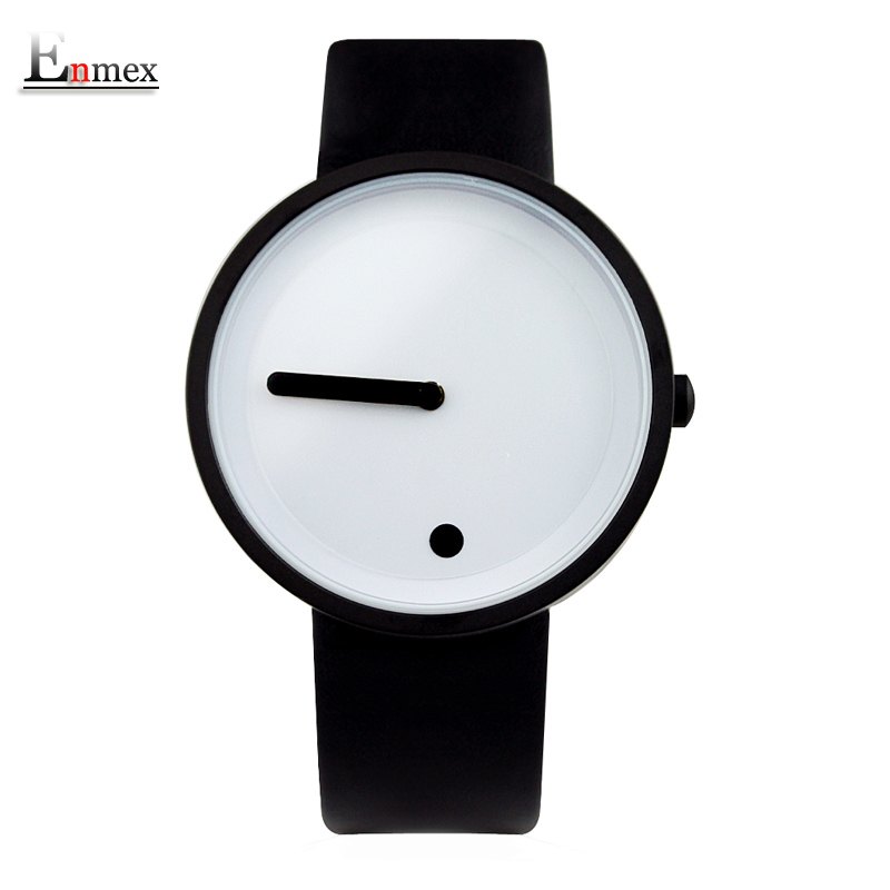 2017gift Enmex black & white Minimalist style wristwatch creative design Dot and Line simple stylish with  quartz  fashion watch 2017 gift enmex creative simple design brief face with a red pointer leather band water prof young and fashion quartz watch
