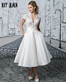 Joky Quaon New Listing V-neck Short Sleeves Tea Length Lace Satin A-line Simple Fashion Wedding Dress 2017 Vestidos De Noiva