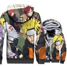 men thicken wool liner hooded 2019 winer new swag coats Japanese Anime Uzumaki Naruto jackets funny 3D Printed brand sweatshirts