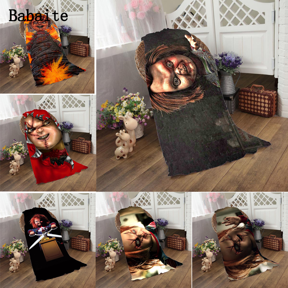 Horry Scary Chucky Doll Environmental Printing Soft Microfiber Fast Drying Bath Towels for Beach Swimwear Camping