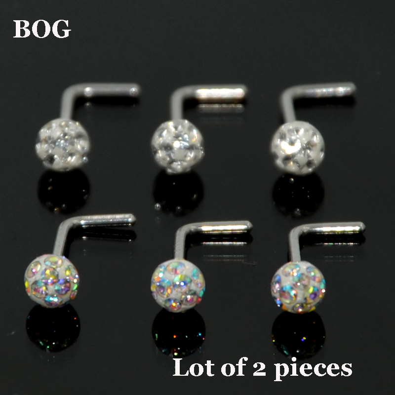 Ruifan 5PCS Surgical Steel Nose Stud Ring Bone with 1.5mm-3mm Flat Piercing Jewelry 22G 20G 18G