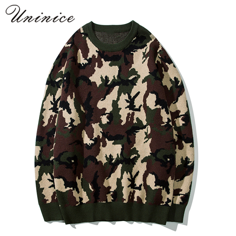 New Japanese Retro Fashion Sweater Mens Knitted Sweater Male Camouflage Autumn Winter Warm Pullovers Teenagers Knitted Tops