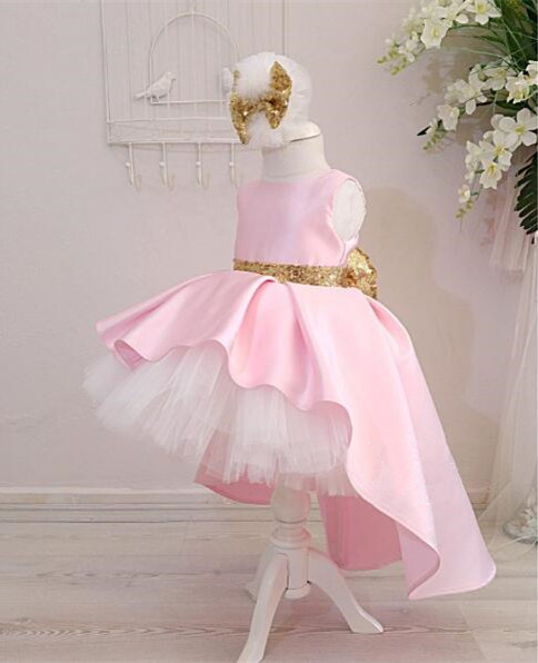 Cute high low pink ball gown baby birthday dress toddler flower girl dresses bling golden sequins bow and sash with headpiece cute sleeveless sequins embellish multilayered girl s ball gown dress