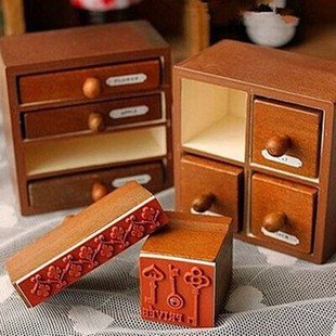 New 2019 Vintage  4 Pcs/set Wooden Box Zakka Drawer Vintage Stamp Set For Diary Decoration Scrapbooking Creative Gift Stamps