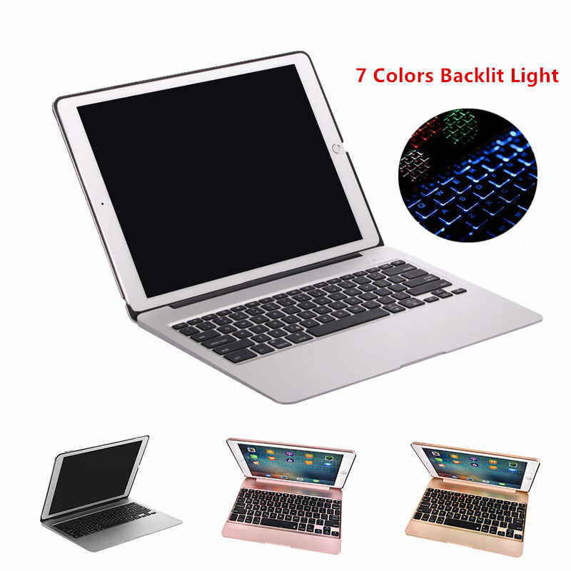 Keyboard Case untuk iPad Pro 12.9 2015 Aluminium Bluetooth Keyboard Tablet Case Cover + Daya Darurat Pengisian + 7 Warna backlit
