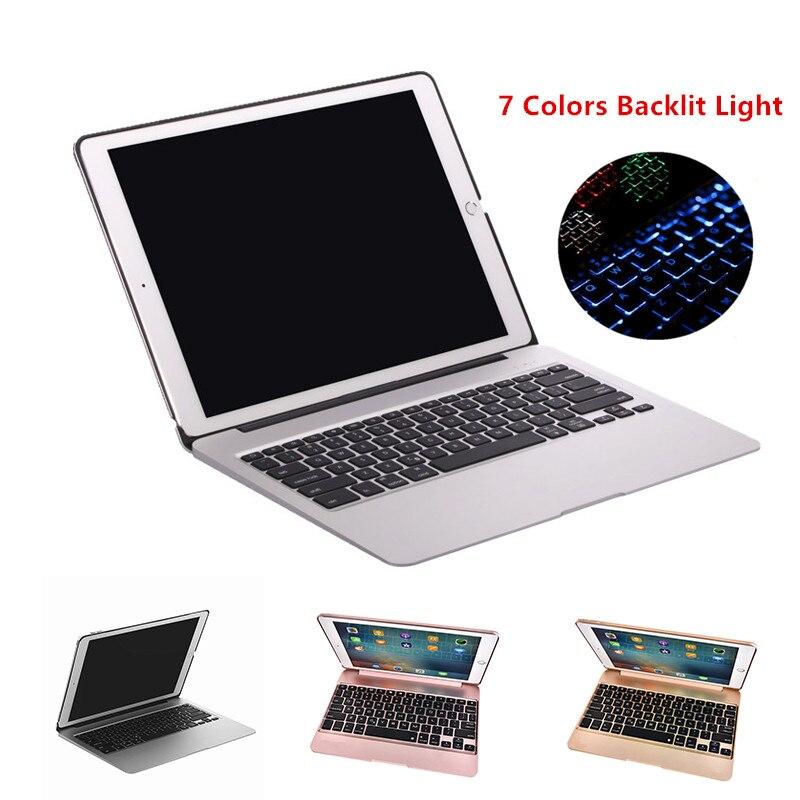 Funda de teclado para iPad Pro 2015 12,9 de aluminio con teclado Bluetooth funda de tableta + carga de emergencia + 7 colores retroiluminados