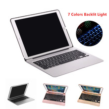 Keyboard Case for iPad Pro 12.9 2015 Aluminum Bluetooth Keyboard Tablet Case Cover + Power Emergency Charging +7 Colors Backlit