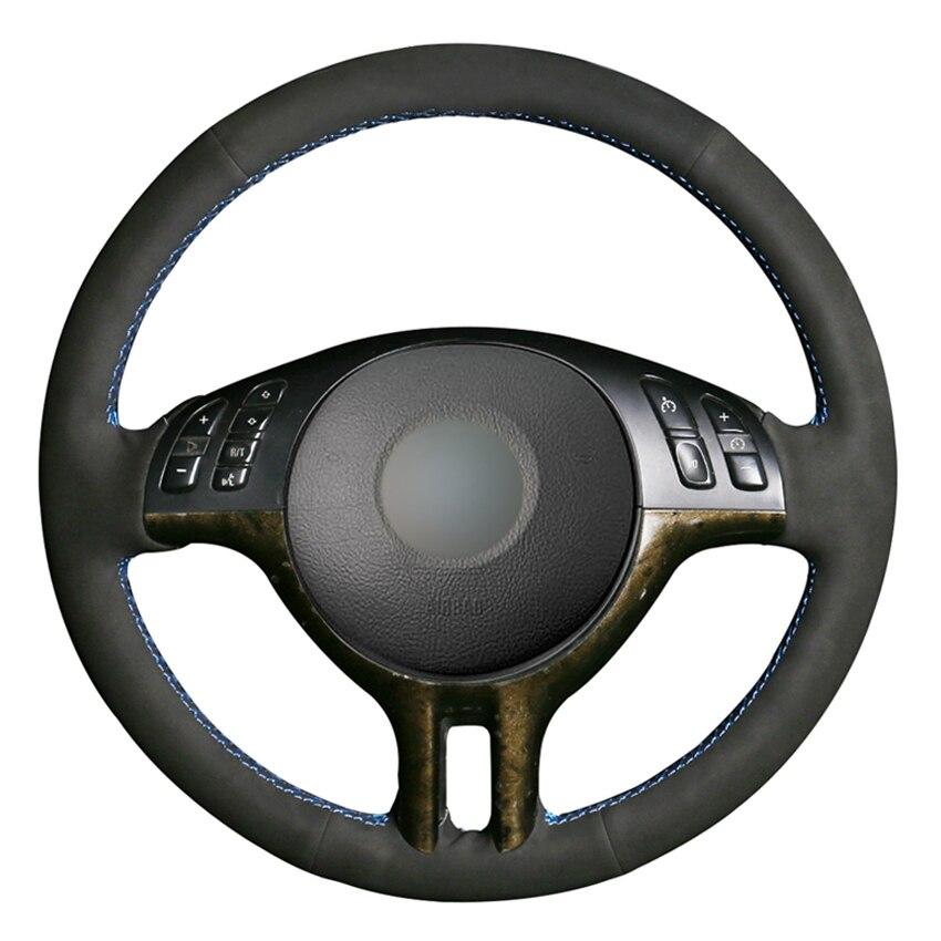 Black Suede DIY Hand-stitched Car Steering Wheel Cover For BMW E39 E46 325i E53 X5