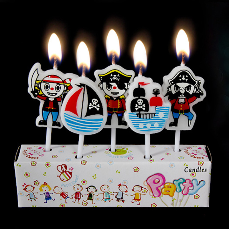 5pcsset kids birthday cakecupcake toppers candlecreative cartoon pirate birthday candle decoration party supplies - Pirate Decorations