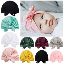 New Baby Hat for Girls Velvet Baby Beanie with Pearls Autumn Winter Baby Photography Props Infant Turban Hats Kids Girl Cap цена