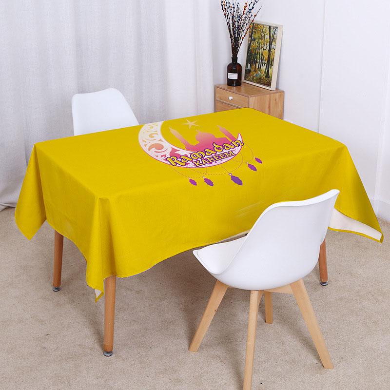 Religious Supplies Islamic Muslim Mosque Waterproof Tablecloth Ramadan Eid Festival Printed Home Kitchens Decoration Table cloth