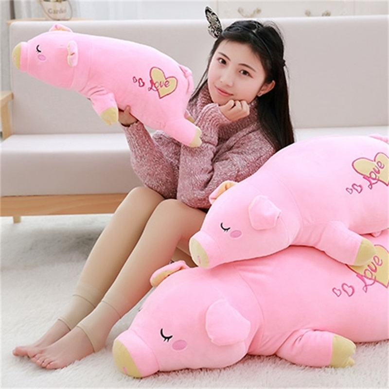 все цены на Direct deal pink pig giant plush doll pig toys for children gift High quality and low price 55cm