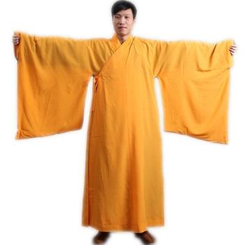 Traje Shaolin Unisex monje vestido largo budista Kungfu chaqueta artes marciales marrón Lino uniforme wushu ropa de algodón