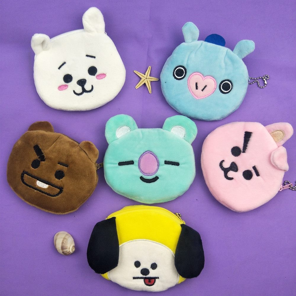 M034 Cartoon Lovely Coin Bags For Women Plush Animal Pig Dog Wallets Zero Purses Child Girl Gift Wholesale