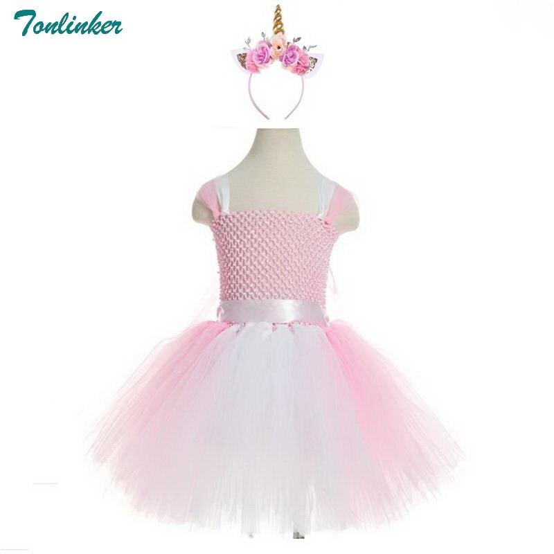 Tonlinker New Unicorn Hair Hoop Girl Princess Party Dress 2018 Kids Formal Fancy Tutu girl Cosplay Halloween Costume