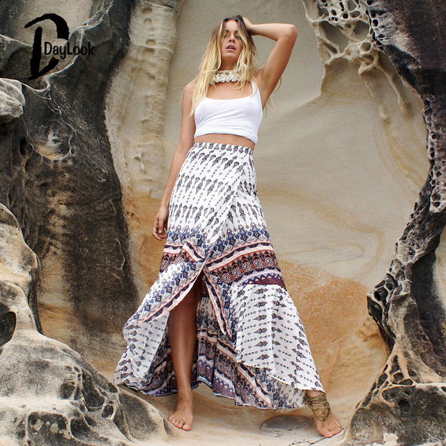 Daylook 2016 Summer Skirts High Waist Bohemia Print Wrap Split Strappy Waist Maxi Skirt Elegant Vintage Long Skirt Saia