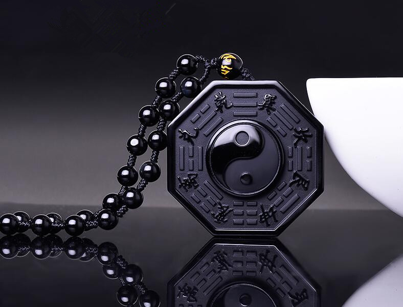New Black Obsidian Natural Stone Carved Chinese BAGUA Pendant Necklace With Beads Chain TaiJi Yin Yang Lucky Amulet Jewelry Gift natural jade black pendant women jewelry pendants black obsidian handmad carved chinese charm necklace fashion hand carved gift