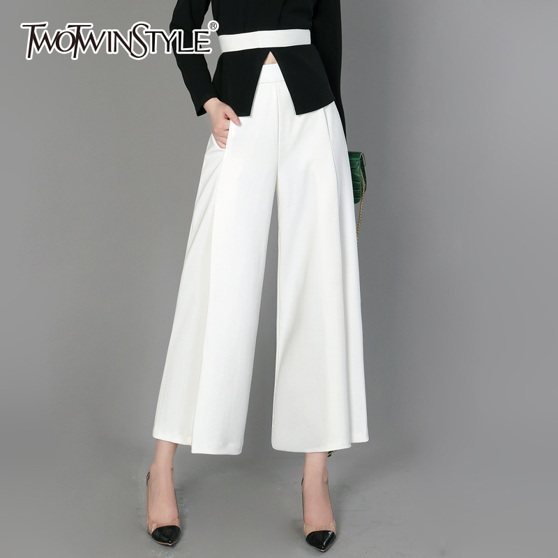 TWOTWINSTYLE Split   Wide     Leg     Pants   Female High Waist Elastic Ruched Pocket Ankle Length Trousers Spring Summer Fashion OL Clothes