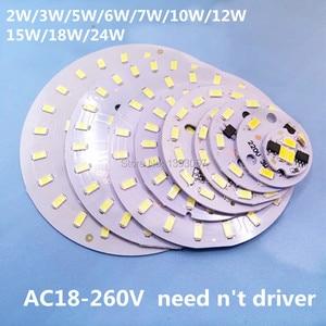 5pcs 220V LED 3W 5W 7W 10W 12W 15W 18W 24W 5730smd integrated IC Driver lamp Plate Cold White/ Warm White
