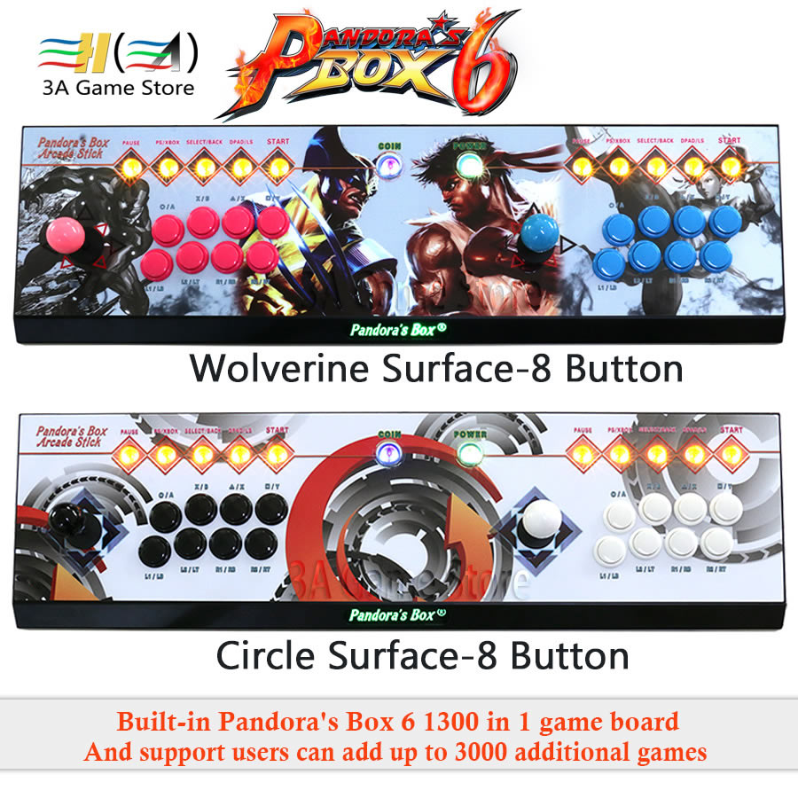 Pandora Box 6 1300 en 1 8 boutons famille 2 joueurs joystick arcade console support ajouter FBA MAME PS1 jeu peut ajouter jusqu'à 3000 jeux