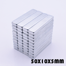 где купить 5Pcs 50x10x5 mm neodymium magnet super powerful neodymium magnets free shipping rare earth magnet N35 strong magnet 50*10*5 mm дешево