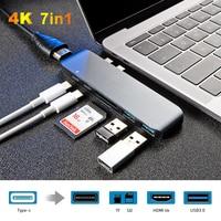 7 em 1 Tipo Duplo C C Hub Port USB Para HDMI Adaptador Thunderbolt 4 k 3 Multiport USB hub 3.0 Com TF/SD Slot Para PD para MacBook Pro 2018   -