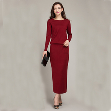 2016 New Spring and Autumn Female Round neck Floor-length Cashmere Sweater One-piece Dress Casual Solid Knitting Women Dress