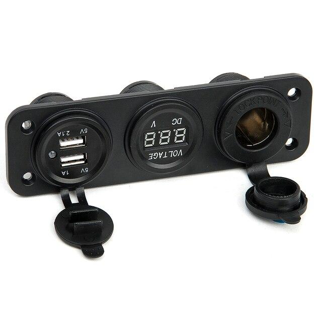Car Charger Motorcycle Plug Dual USB Adaptor+12V/24V Cigarette Lighter Socket Blue LED +Digital Voltmeter Mobile Phone