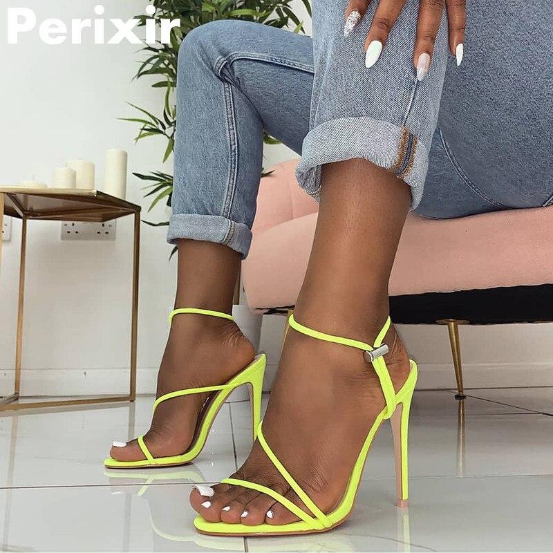 5a9948290 Perixir Cross-amarrado Sandálias Das Mulheres Verão 2019 Nova com Tira No  Tornozelo 11.5 centímetros de Salto Alto Sexy grain Lace-Up sandálias  Sapatos de ...