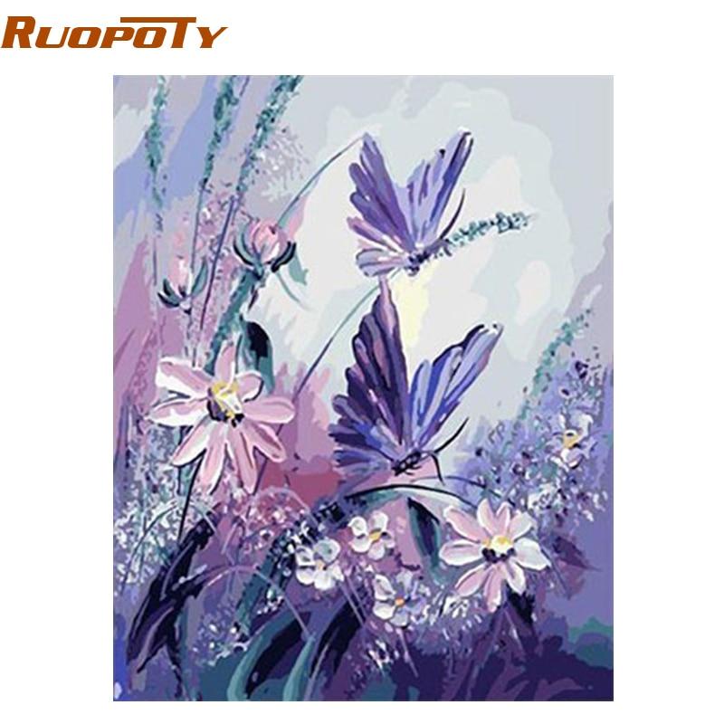 RUOPOTY Rahmen Schmetterling DIY Malen Nach Zahlen Wandkunst Bild ...