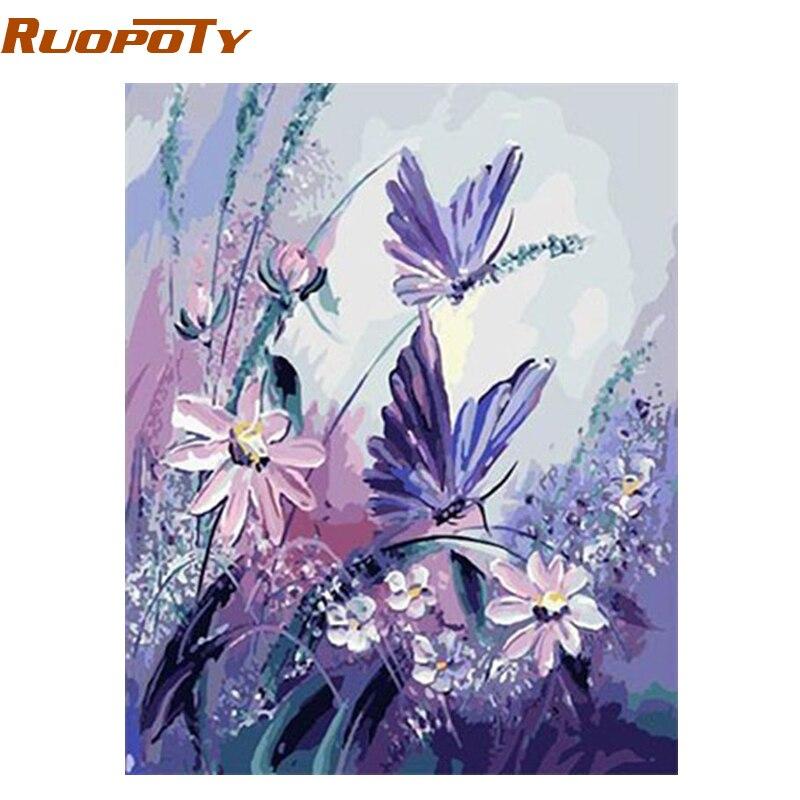 RUOPOTY marco mariposa DIY pintura por números arte de la pared cuadro decoración de la boda de la lona ilustraciones pintadas a mano de la pintura al óleo