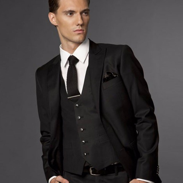 Black Wedding Suits For Men Groom Suit Custom Made Tuxedos