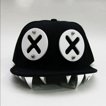 цена на Funny Punk Style XX Eye Rivet Hip Hop Baseball Hats Cap For Young Men And Women Lovely Flat Brim Duck Tongue Baseball Hat Cap