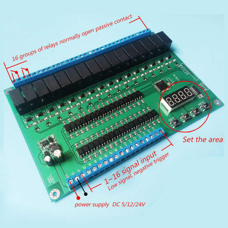 16 channel relay control module board PLC delay jog self lock interlock sequence start stop in Relays from Home Improvement