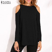 ZANZEA Women 2018 Autumn Elegant Blouses Tops Sexy Ladies Off Shoulder Long Sleeve Pullovers Casual Loose Blusas Shirts Oversize