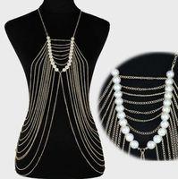 Body Chain Necklace Gold Tone Pearl Draped Multi-Strand Fringe Design