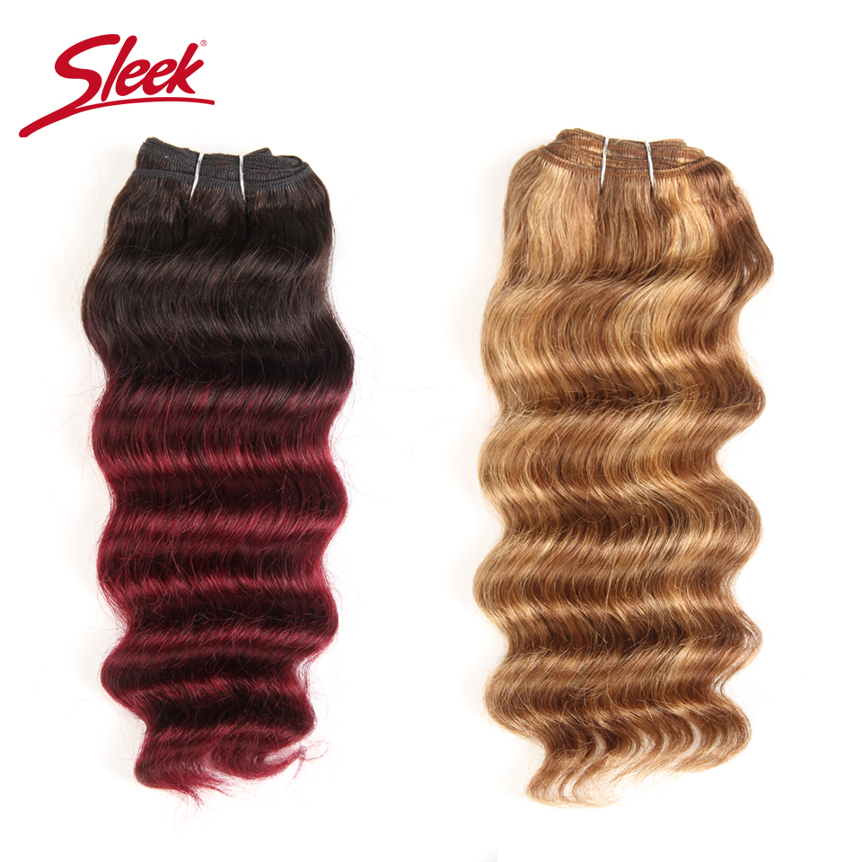 Sleek Nature Hi Deep Hair 1 Piece Only Brazilian Deep Wave Human Hair Weave Bundles Deal P6-27 T1B-99J Ombre Remy Hair Extension