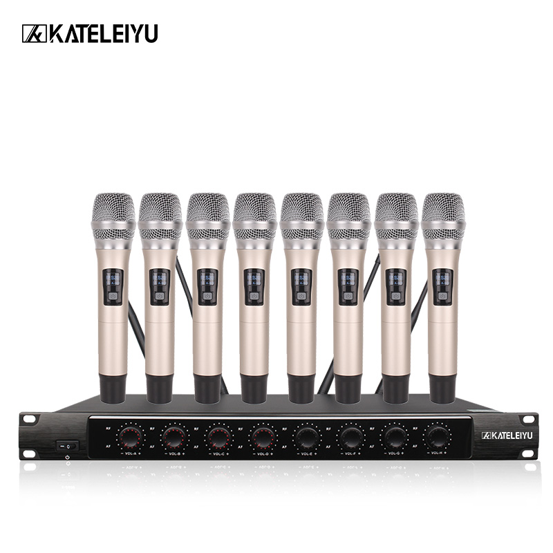 System 8600A Professional Wireless Microphone 8 Channel Professional VHF 8 Stage Karaoke Microphone Handheld Wireless Microphone professional karaoke wireless microphone system 2 channel receiver cordless handheld microphones for dj mixer audio stage church