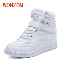 WONZOM Winter Fashion Casual Ankle Women Snow Boots Height Increased Shoes Woman Waterproof High Top Botas