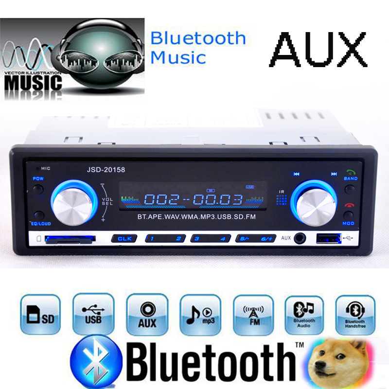 LaBo Car Radio стерео плейър Bluetooth телефон AUX-IN MP3 FM / USB / 1 Din / дистанционно управление за Iphone 12V Car Audio Авто 2019 Продажба